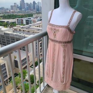 Sue Wong Nocturne Blush Pink Beaded Silk Dress 10